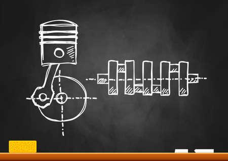 dessin du moteur sur le tableau noir