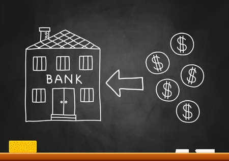 Drawing of bank on blackboard  Vector