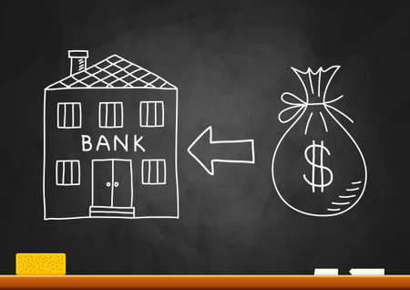 Drawing of bank on blackboard  Stock Vector - 20334153