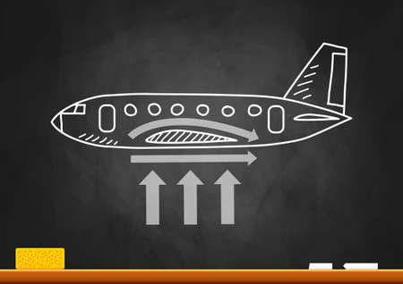Aircraft drawing on blackboard Vector