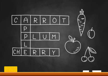 Fruit crossword puzzle on blackboard   Vector