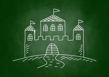 architectural studies: Castle drawing on blackboard Illustration