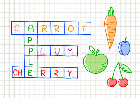 squared paper: Fruit crossword puzzle on squared paper   Illustration