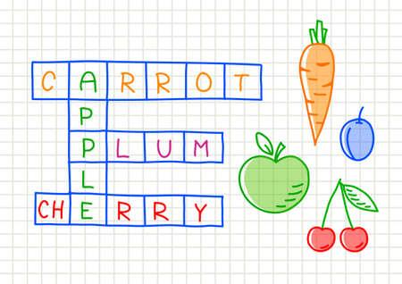 zanahoria caricatura: Fruit crucigrama sobre papel cuadriculado Vectores
