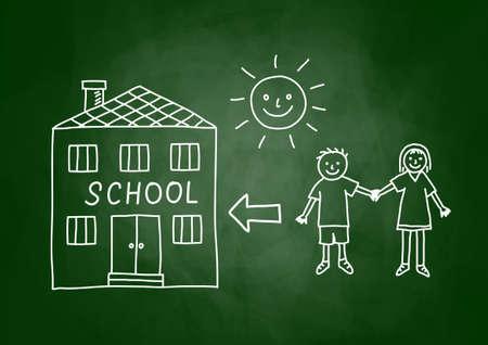 architectural studies: Children and school on blackboard Illustration