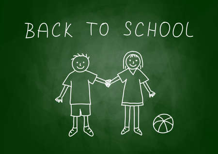 Drawing of children on blackboard   Vector