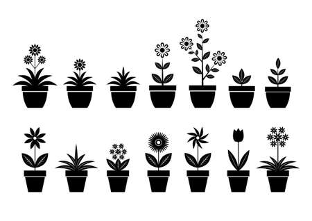 plant pot: Flower icons on white background Illustration