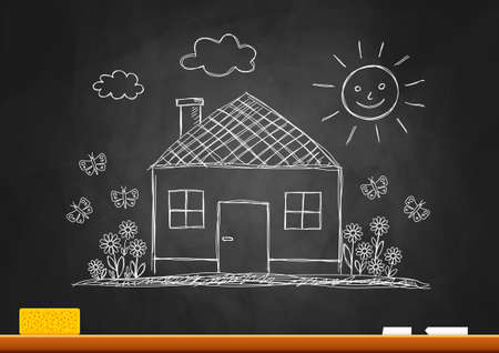 house sketch: Drawing of house on blackboard