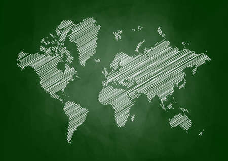 World map on blackboard  Vector