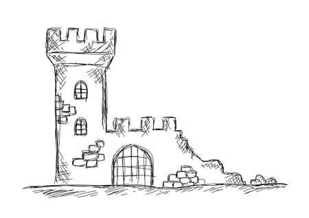Zeichnung der Burgruine Standard-Bild - 21434131