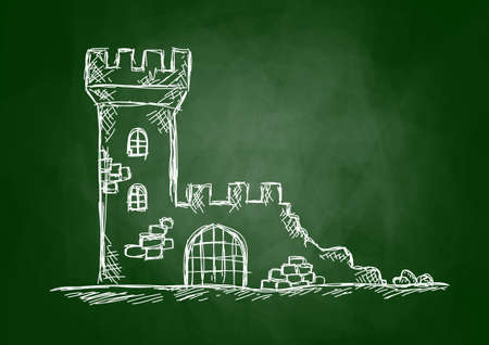 ruins is ancient:   Drawing of castle ruins on blackboard