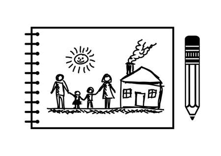 freehand:   Drawing of family and house   Illustration