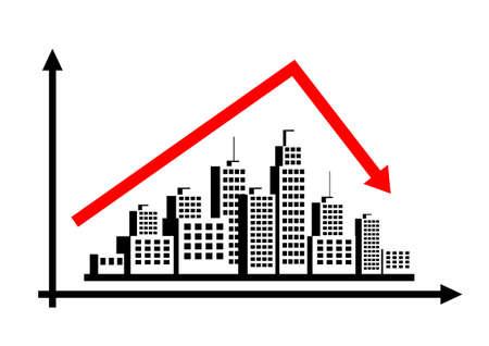 risico analyse: City graph Stock Illustratie