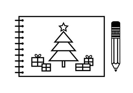Christmas tree drawing   Vector