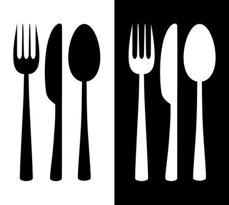 Black and white cutlery icon Vector