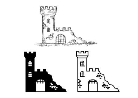 castle tower: Castle ruins Illustration