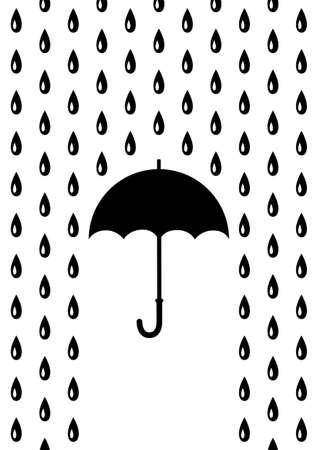 Umbrella in rain   Illustration