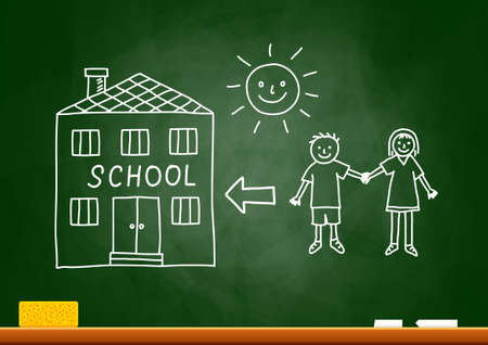 Drawing of children and school on blackboard Vector