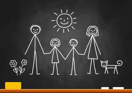 Sketch of family on blackboard Stock Illustratie