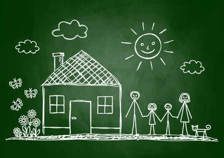 Skizze der Familie auf Tafel Standard-Bild - 23641618