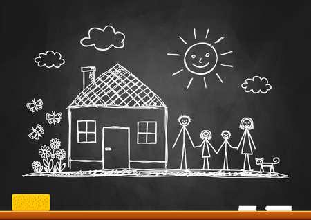 home school: Sketch of family on blackboard Illustration