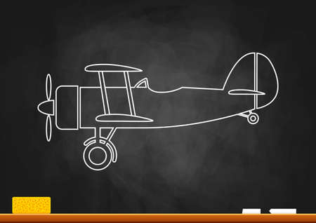 Drawing of aircraft on blackboard   Vector