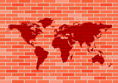 World map on brick wall   Vector
