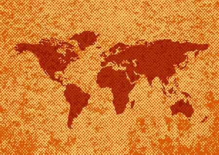 rusty background: World map on rusty background