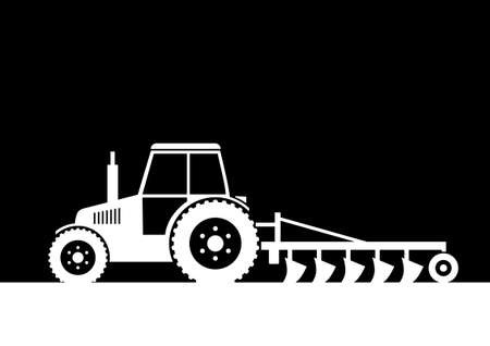 Tractor on field     Vector