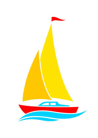 sailing vessel: Sailboat icon Illustration