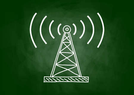 radio mast: Transmitter drawing on blackboard