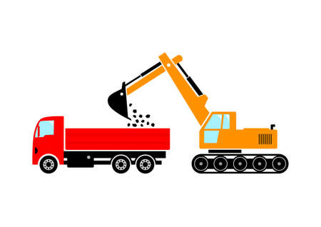digger: Truck and excavator on white