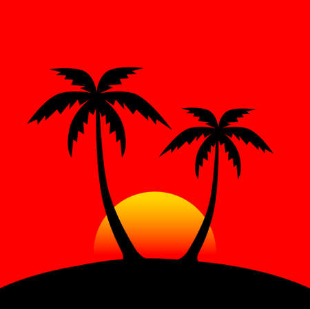 Silhouette of palms Vector