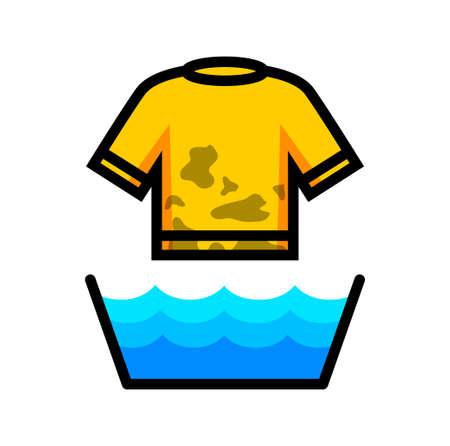 wet shirt: Washing icon Illustration