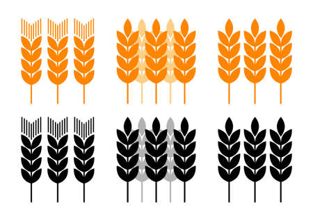 wheat illustration: Agricultural icons on white