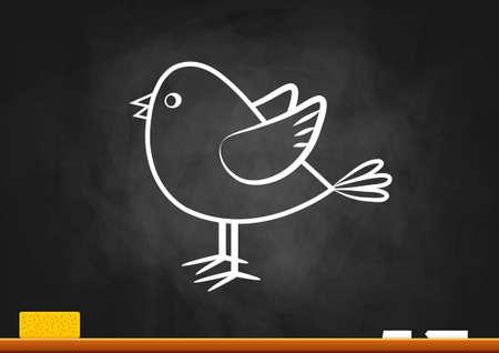 duif tekening: Vogel tekening op blackboard