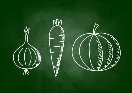 Vegetable drawing on blackboard  Vector