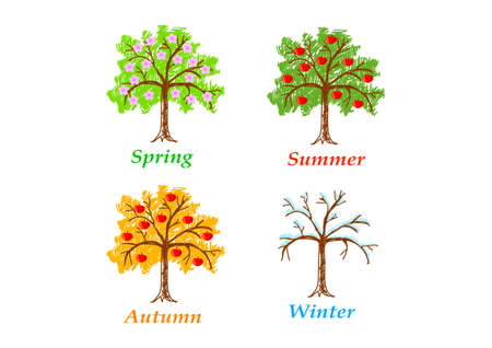 appletree: Drawings on white background  Illustration