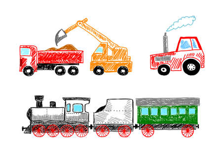 dredge to dig: Drawings on white background  Illustration