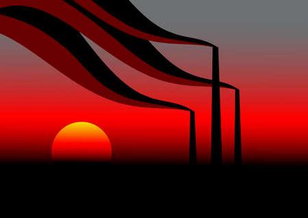 Industrial evening sky Stock Vector - 26501026