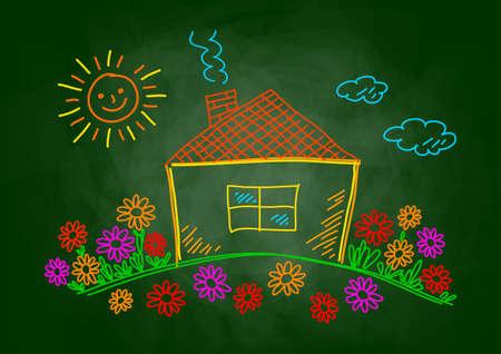 House drawing on blackboard   Vector