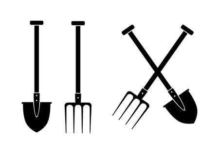 pitchfork: Spade and pitchfork on white background