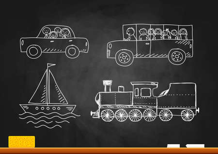 Drawings on blackboard Vector