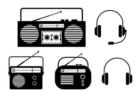 portable radio: Radio icons on white background