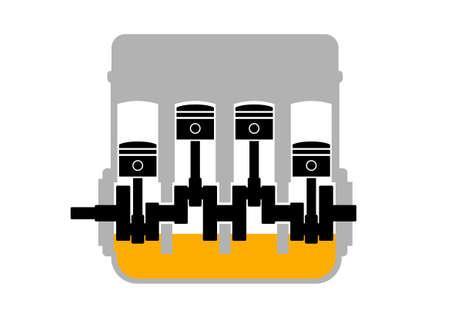 machine oil: Engine on white background