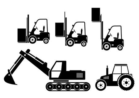 dig up: Tractor, excavator and forklift on white background
