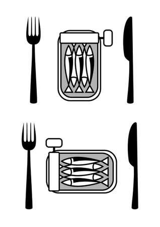 sardine: Dose Sardinen mit Besteck Illustration