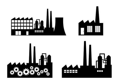 Factory icons on white background Stock Illustratie