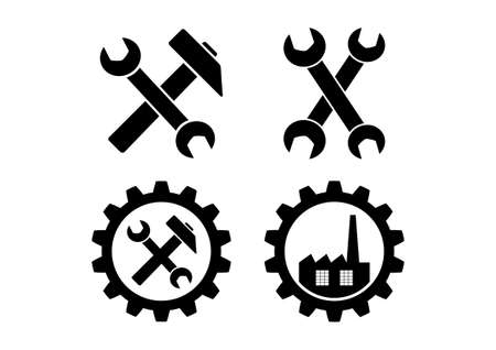 Industrial icons on white background Vector