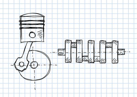 crankshaft: Crankshaft and piston on squared paper Illustration